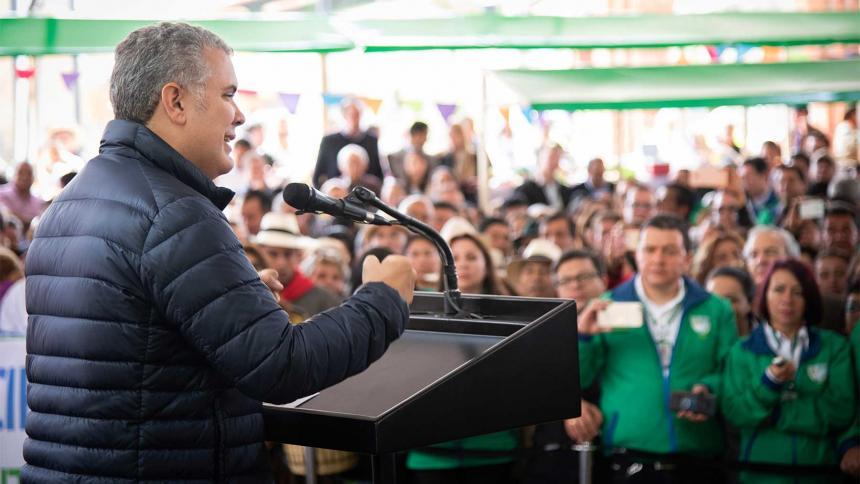 El presidente Duque en Tabio, Cundinamarca, en la celebración del Día del Campesino.