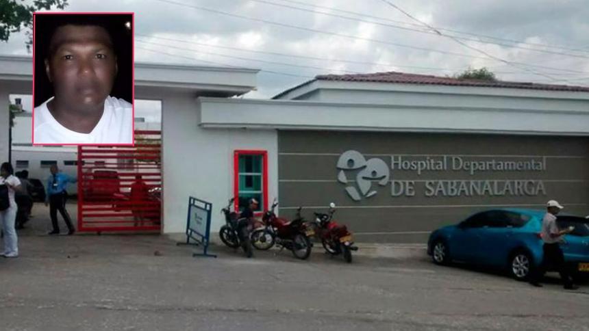 Fachada del Hospital Departamental de Sabanalarga, lugar donde falleció Jarinzón Lemus Torres (recuadro).