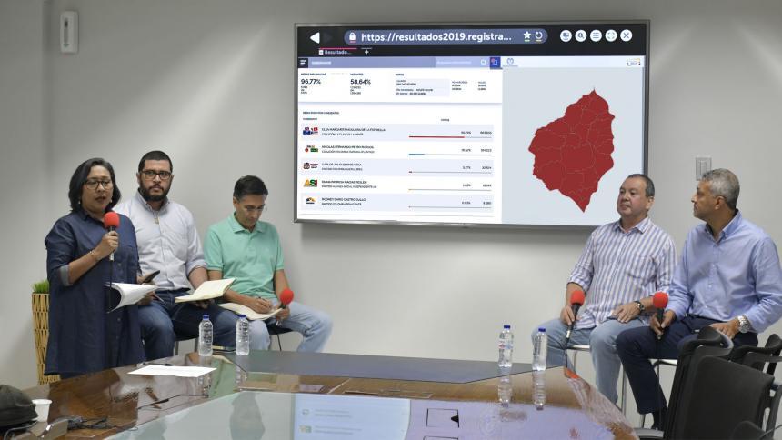 La macroeditora de EL HERALDO, Viany Pérez, junto a los expertos Luis  F. Trejos, Fernando Giraldo, Alberto Martínez y Carlos Guzmán, en la transmisión en vivo.