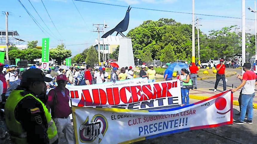 Los educadores del departamento del Cesar durante las concentraciones de febrero pasado en todo el país.