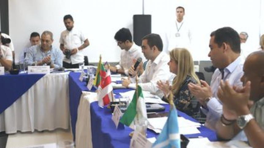 Aspecto de la reunión del Ocad Caribe realizada la tarde de este jueves.