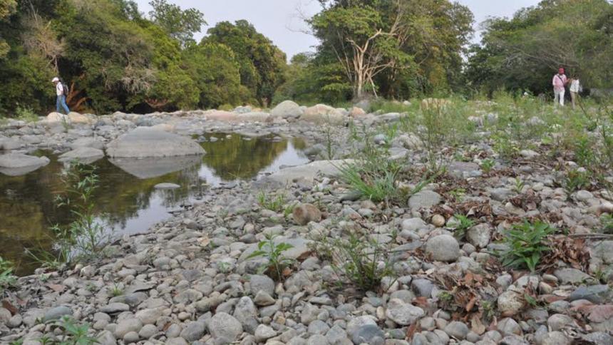 En un nivel crítico se encuentra el río Guatapurí, ante la fuerte sequía que se registra en la región.