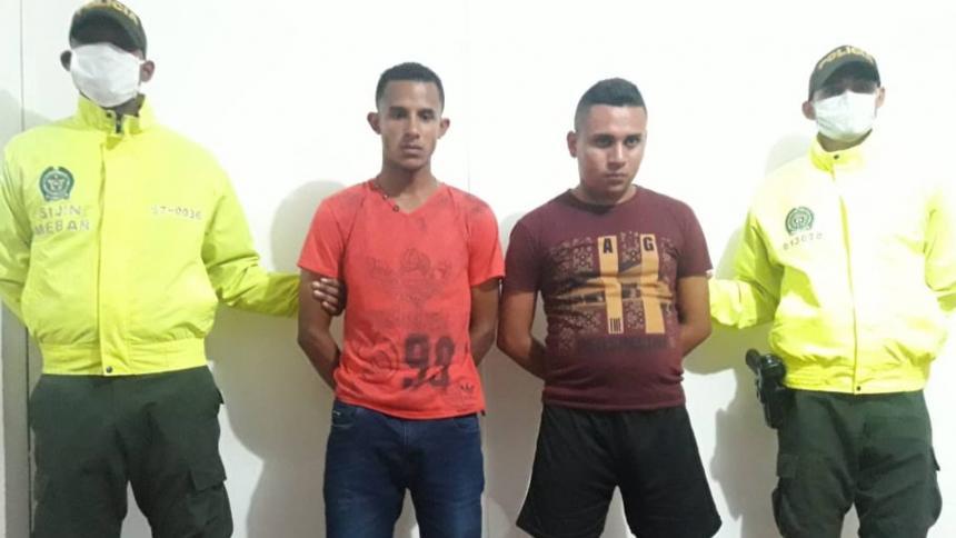 Jhan Carlos Romero Mercado y  Luis Carlos Álvarez Rivera, alias Pastorcito mentiroso, capturados por el homicidio de Omaira Balza.