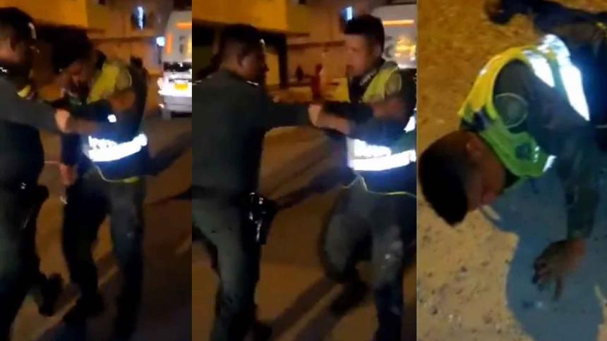 Tres escenas del incidente de dos policías en Cartagena captados en video.