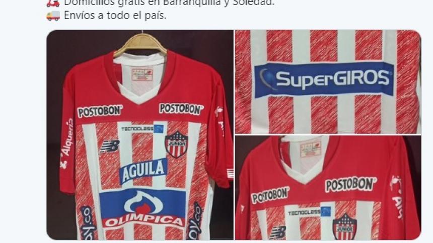Las réplicas de la nueva camiseta de Junior que se empezaron a ofrecer en redes sociales.