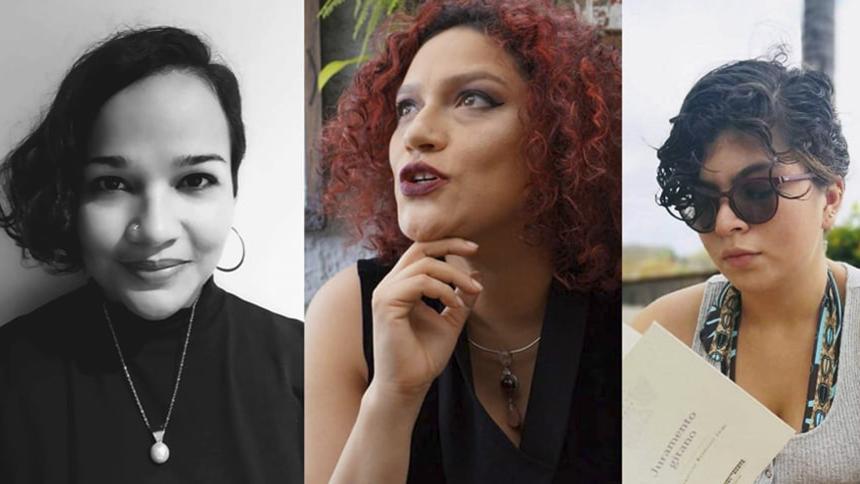 Farides Lugo, Juliana Enciso y Tawny Moreno, integrantes del proyecto colectivo de crítica literaria Aluvión.