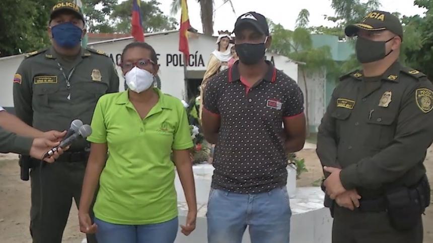Irina Zúñiga, Roberto de Arco y el  mayor Romualdo Bray, comandante del Primer Distrito de Policía Centro Histórico y Zona Norte.
