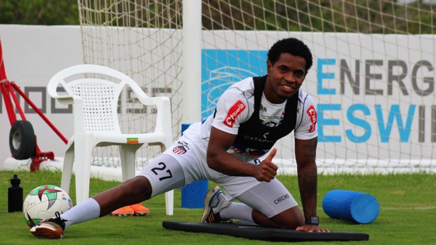 Fabián Viáfara en una de las jornadas de entrenamientos individuales en Junior.