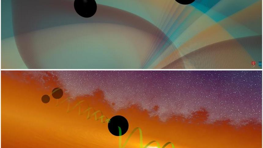Combo de dos imágenes que simulan una representación artística de un esquema jerárquico para fusionar los agujeros negros (arriba) y dos agujeros negros que se fusionan emitiendo ondas gravitacionales (abajo).