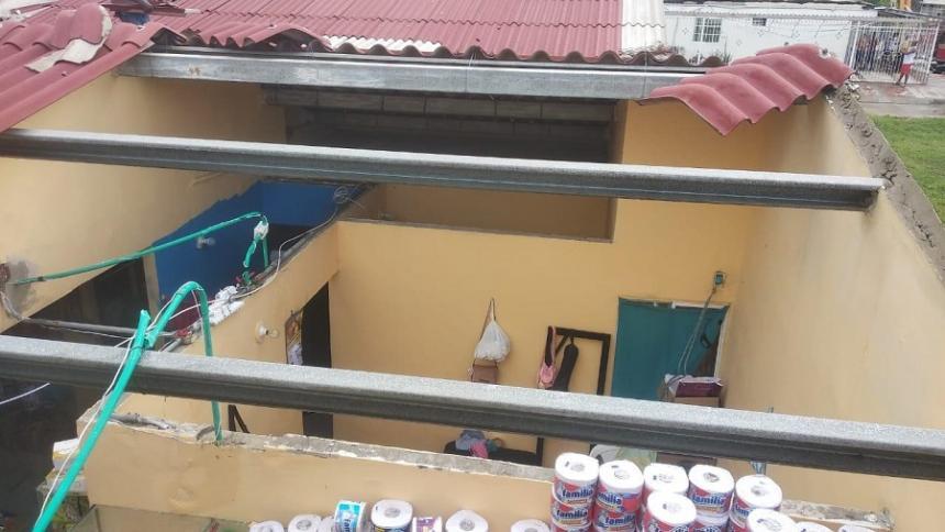 Aspecto de una de las casas afectadas en Galapa.