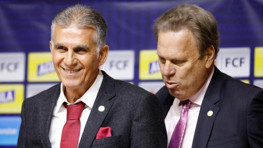 El técnico portugués Carlos Queiroz y Ramón Jesurun Franco, presidente de la FCF.