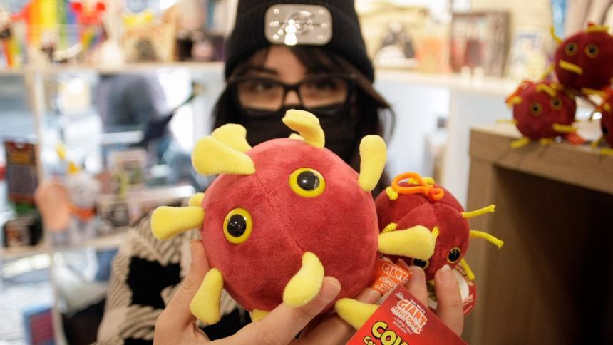 En una juguetería de A Coruña el SARS-CoV-2, el virus de la familia de los coronavirus que provoca la Covid, se compra y es un peluche.