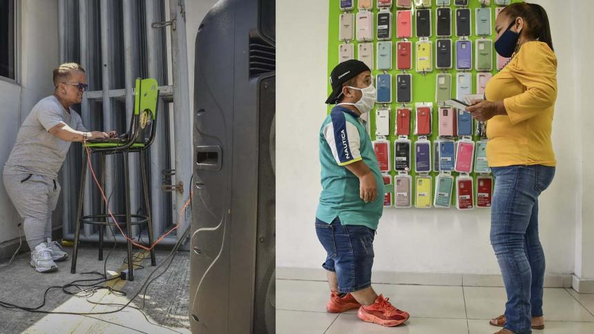 Yesid Zuñiga tiene 42 años y trabaja en los sectores de la animación  y activación de marcas. Santos Spinali, de 28, labora como vendedor de accesorios de celular.