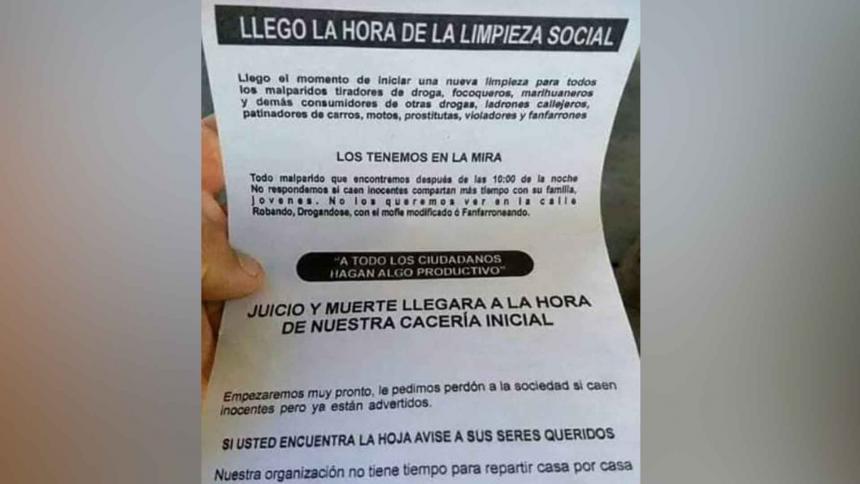 Lanzan panfleto amenazante en el barrio Las Américas