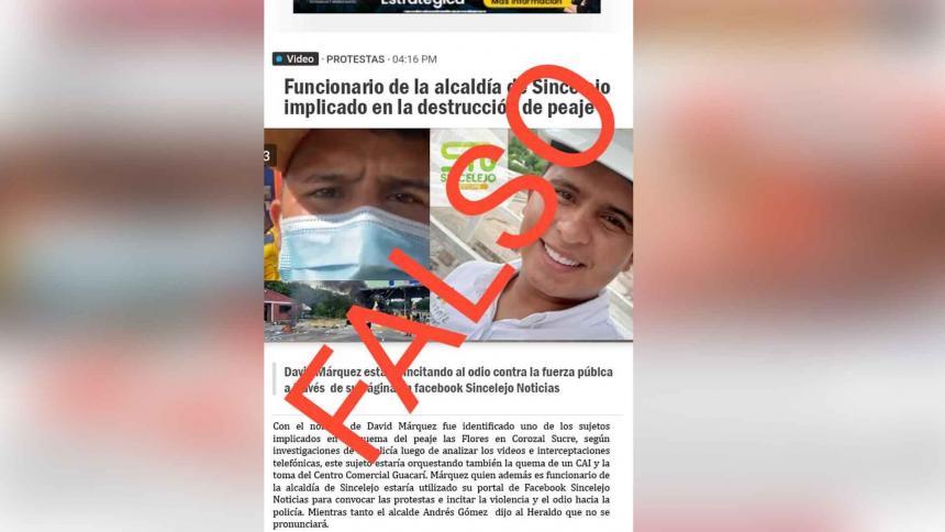 Falsa publicación que usa imagen de EL HERALDO para difamar a funcionario
