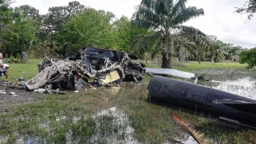 Policías mueren en accidente de helicóptero en Cantagallo, Bolívar