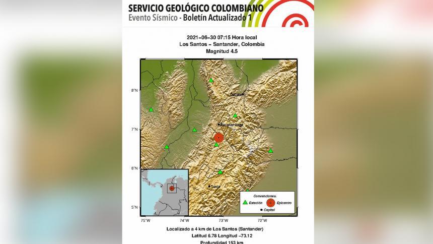 Sismo de magnitud 4.5 se registró en Santander