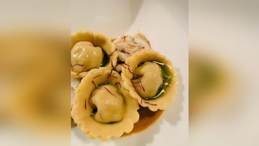 Raviolis de langostinos, una mezcla italo caribeña