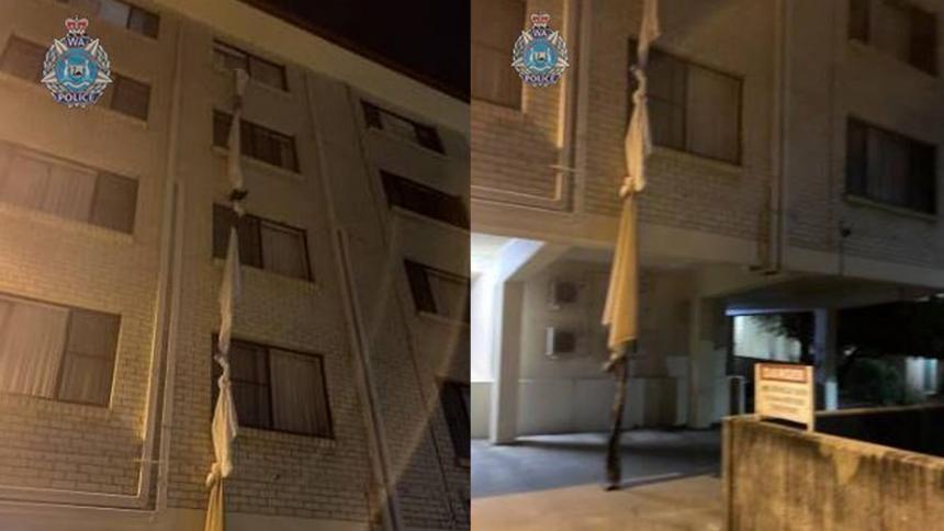 Escapó de cuarentena de covid-19 usando cuerda hecha con sábanas