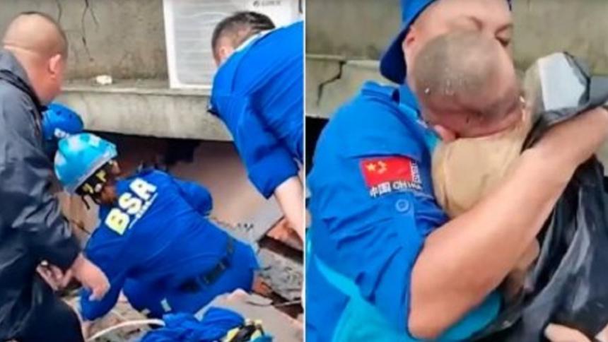 Bebé fue rescatado entre los escombros; su madre murió tras deslizamientos de tierra en China