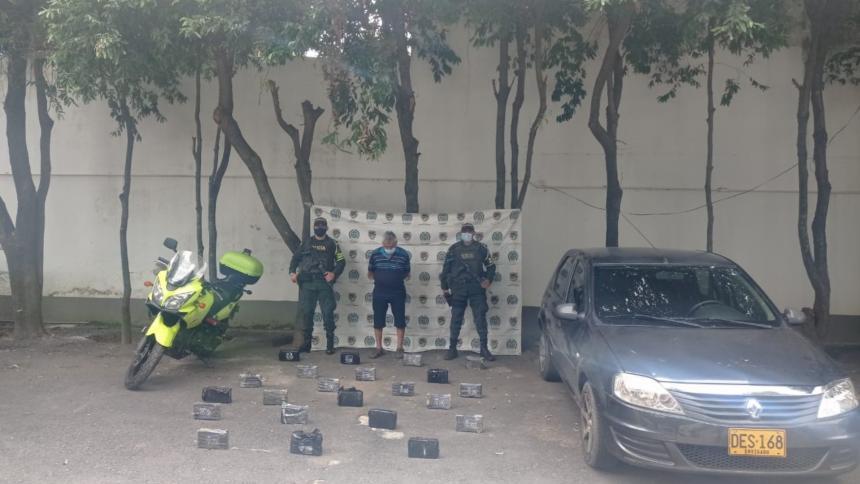 Capturan a hombre por transportar 22 kilos de cocaína en Aguachica