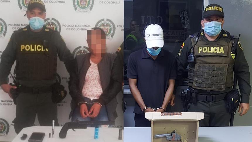 Policía captura a una mujer y a un hombre por porte ilegal de armas de fuego
