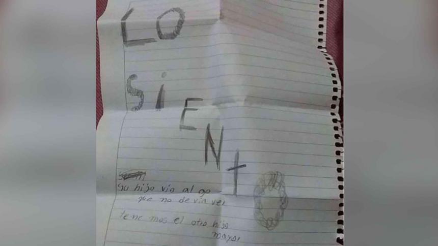 Niño de dos años fue hallado sin vida por su madre y con una carta a su lado
