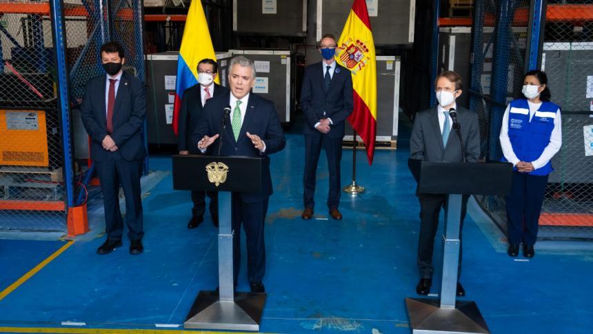 Colombia recibe donación de vacunas por parte de España