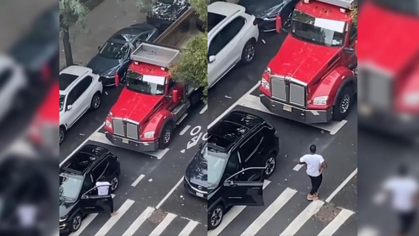 """Curioso """"enfrentamiento"""" entre conductores en plena calle de Nueva York"""
