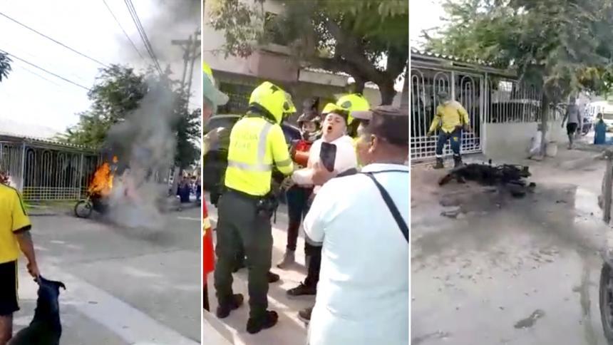 Hombre incendia su motocicleta para impedir que se la inmovilizaran en Barranquilla