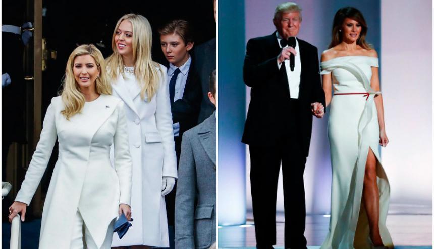 Ivanka y Tiffany Trump en la ceremonia de investidura. | Melania Trump en su primer baile  oficial como primera dama.