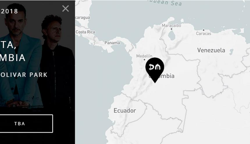 Anuncio de la visita de la banda a Colombia en la página oficial.
