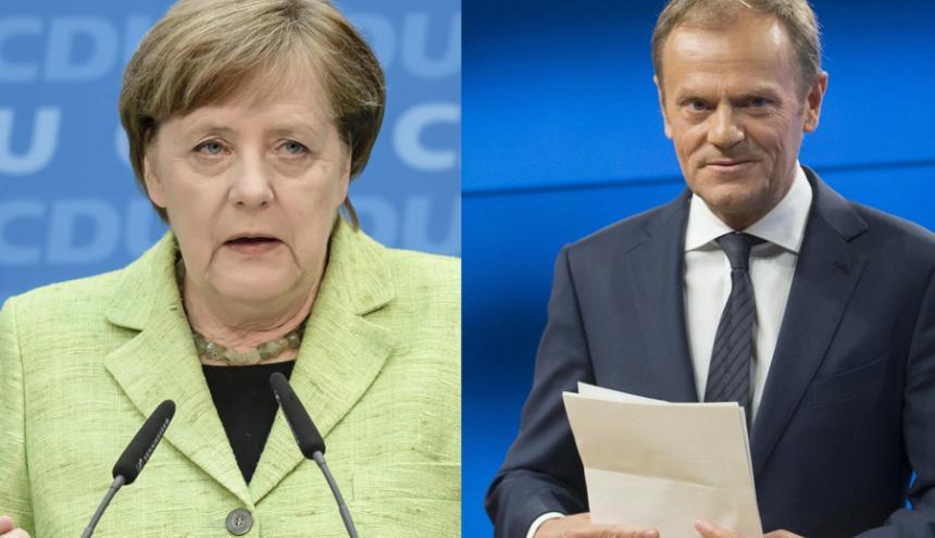 Angela Merkel, canciller alemana, y Donald Tusk, presidente del Consejo Europeo.