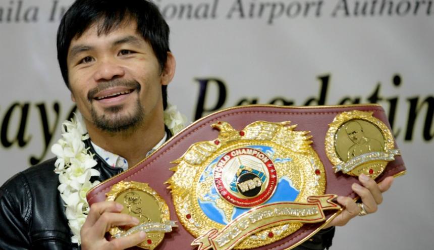 El boxeador filipino Manny Pacquiao, campeón mundial del peso wélter de la Organización Mundial de Boxeo (OMB).