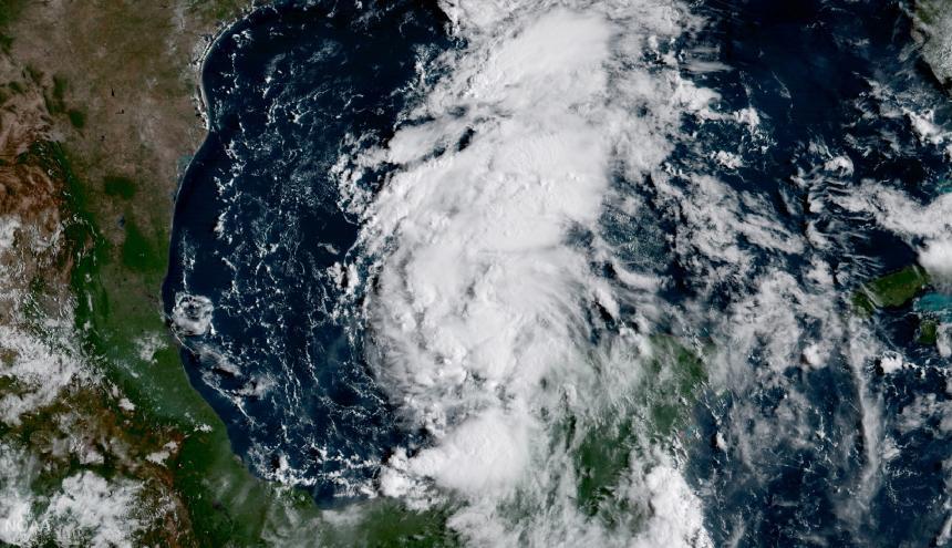 Gráfico de la tormenta Harvey, ahora huracán.