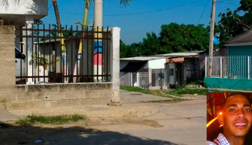 Lugar donde fue asesinado Gabriel Enrique Lobo Salcedo (en el recuadro).