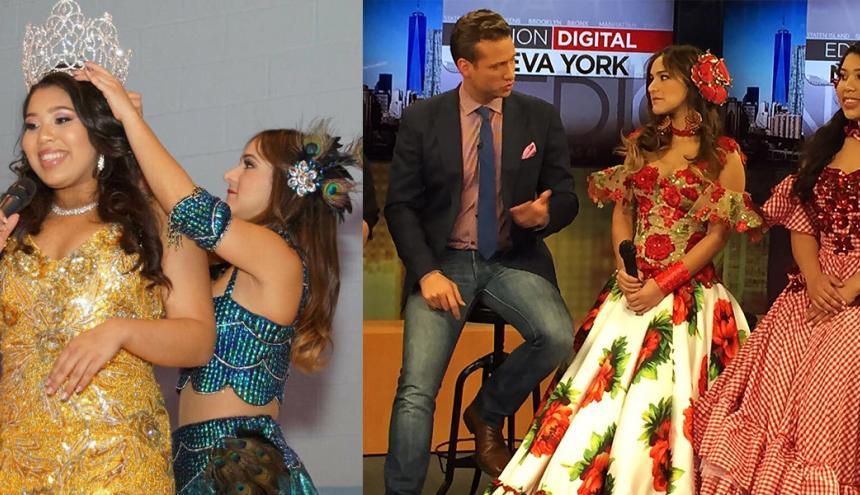 La reina del Carnaval Valeria Abuchaibe cuando coronaba a la reina internacional del Carnaval de Barranquilla Alexa Irizarry, durante fiesta realizada en Paterson, New Jersey. En la otra foto, las dos soberanas en los estudios de Univisión.