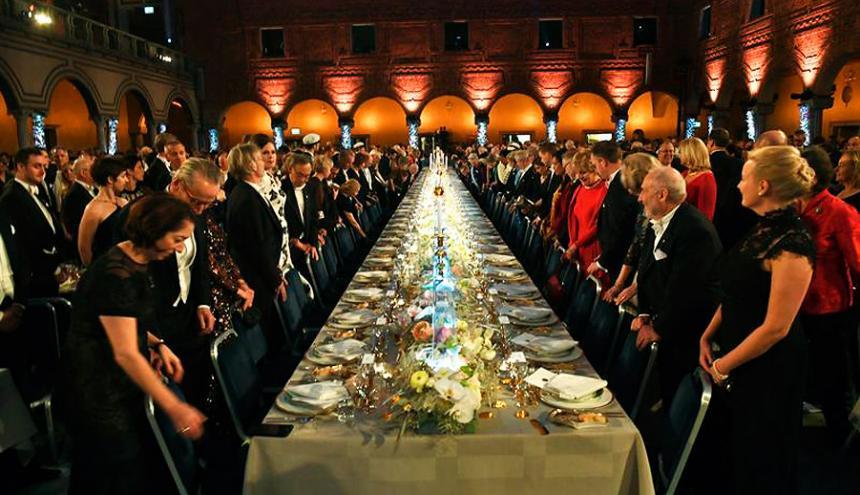 Banquete en honor a los ganadores del Nobel.
