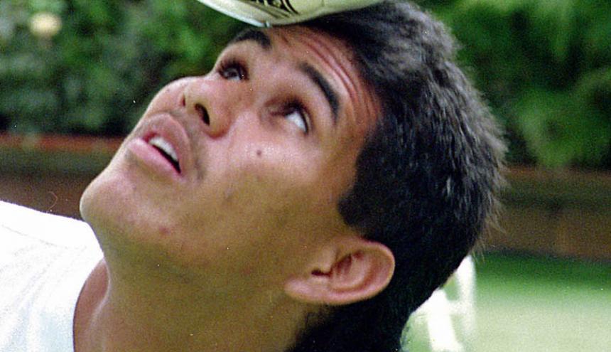 Raúl Chaparro dominando el balón en una práctica con Junior.
