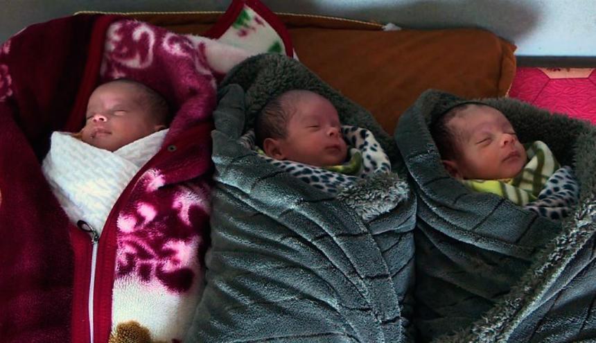 Los trillizos nacidos en la Franja de Gaza