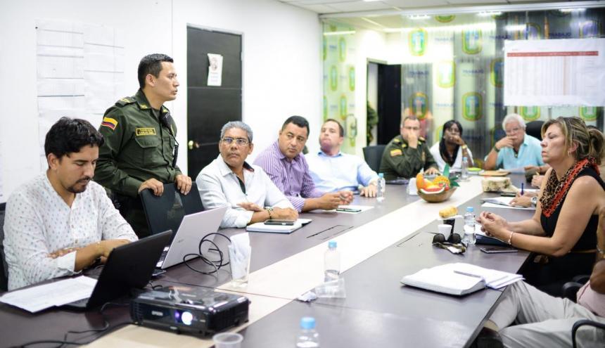 Aspecto de la reunión de seguridad llevada a cabo en la Alcaldía de Soledad.