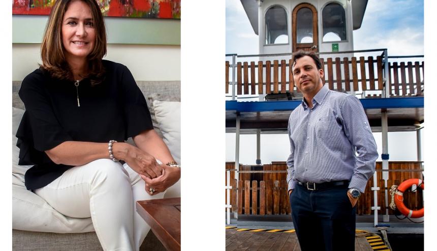 Soraya Gómez Díaz, emprendedora con la marca De la palma Chicoco y Miguel Maru Bustos, propietario de La Mita, atracada en el Malecón del Río.