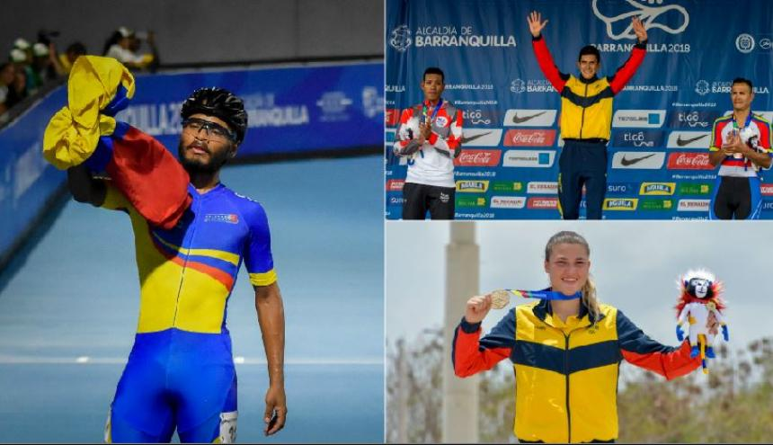 El patinador Álex Cujavanate Luna obtuvo dos medallas de oro (izq.); el ciclista barranquillero Nelson Soto triunfó en la prueba de ruta; la bicicrosista Gabriela Bolle Carrillo obtuvo un preciado metal dorado.