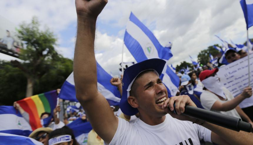 Universitarios nicaragüenses protestando contra el Gobierno de Ortega.