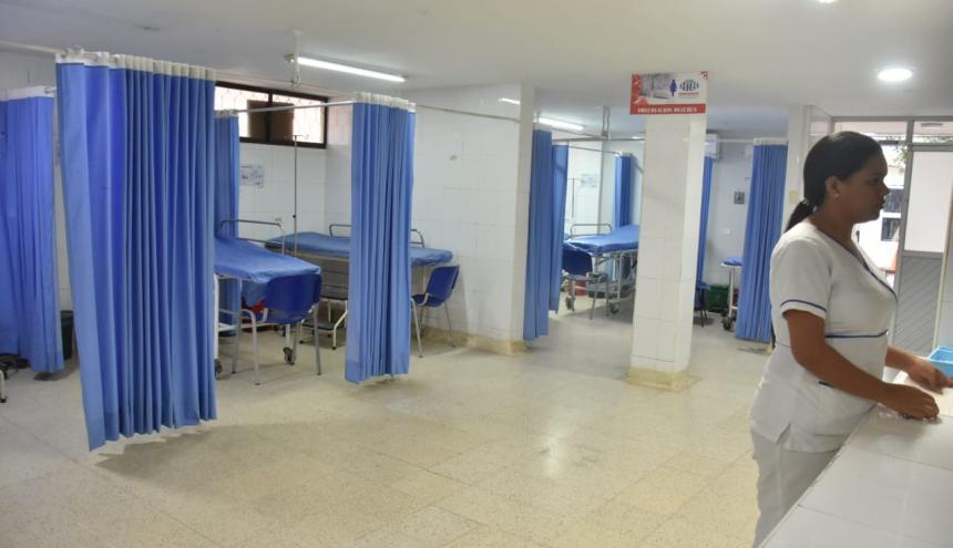 Aspecto de la ESE Hospital de Baranoa tras cierre y traslado de pacientes.