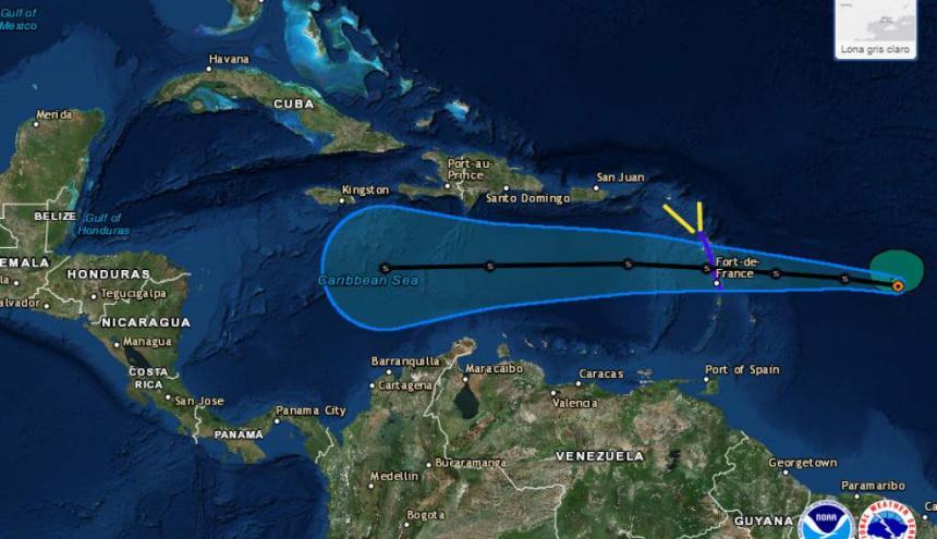 Trayectoria de la tormenta tropical Isaac sobre el Océano Atlántico.