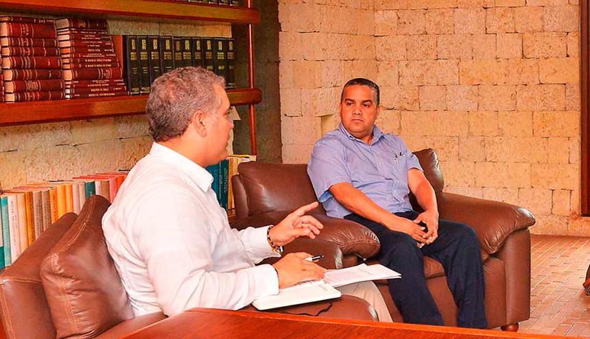 El presidente Iván Duque durante su entrevista a Pedrito Pereira Caballero.