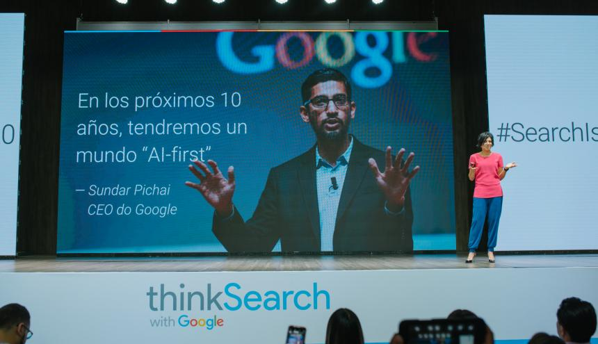 Adriana Noreña, vicepresidenta de Google para Hispanoamérica durante el evento de 'ThinkSearch'.