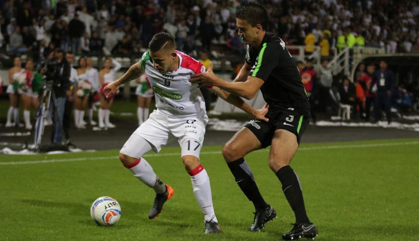 Once Caldas empató 2-2 con Atlético Nacional en el estadio Palogrande, en el juego de ida de la final de la Copa Águila 2018.