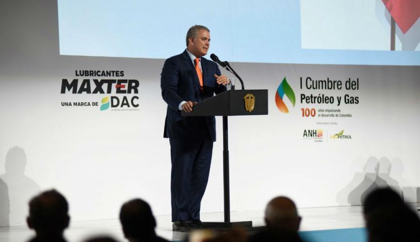 El presidente Iván Duque, durante la instalación de la primera Cumbre de Petróleo y Gas en Bogotá.